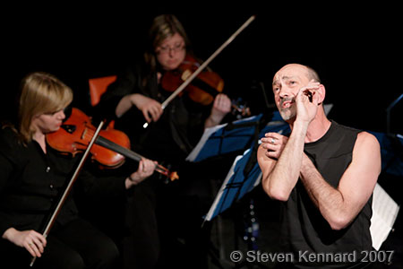 Cliff LeJeune playing with the Blue Engine String Quartet at the Evergreen Theatre